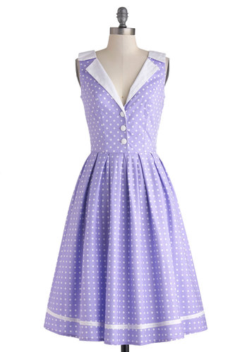 Love You Brunches Dress in Lilac - Purple, White, Polka Dots, Buttons, Pleats, Casual, A-line, Sleeveless, Daytime Party, Vintage Inspired, 50s, Spring, Long, Cotton