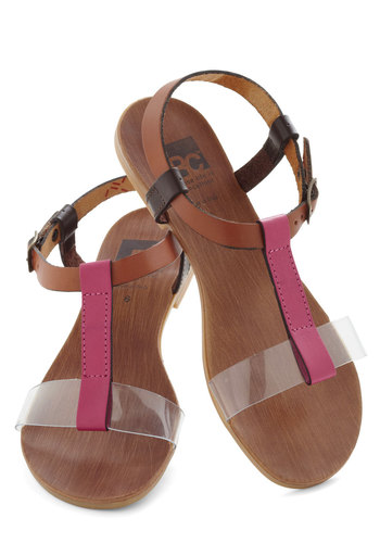 Tri It Out Sandal by BC Footwear - Tan, Pink, Black, Flat, Leather, Casual, Beach/Resort, Summer