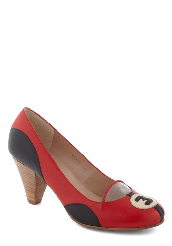 Rally and Truly Heel - Red, Black, Print, Mid, Leather, Party, Work, Vintage Inspired, Colorblocking, Quirky
