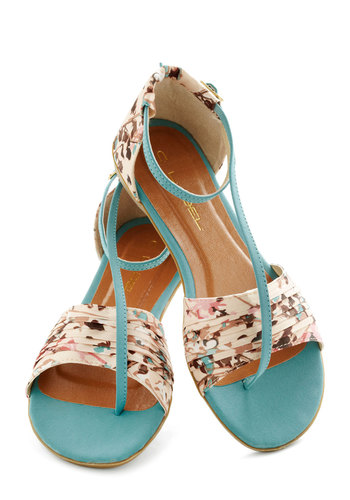 Twist of Gait Sandal in Turquoise - Flat, Blue, Multi, Floral, Beach/Resort, Summer, Pleats, Daytime Party, Variation