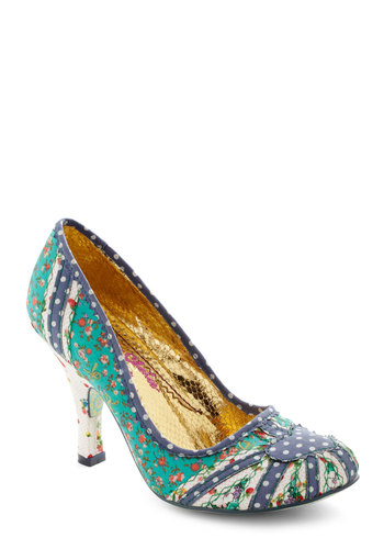 Way You Make Me Teal Heel by Irregular Choice - Green, Multi, Polka Dots, Floral, Mid, Trim, Party