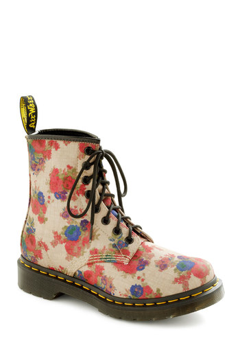 Stomp in the Name of Love Boot by Dr. Martens - Low, Tan, Multi, Floral, Urban, Lace Up, Casual, Vintage Inspired, 90s, Fall, Better