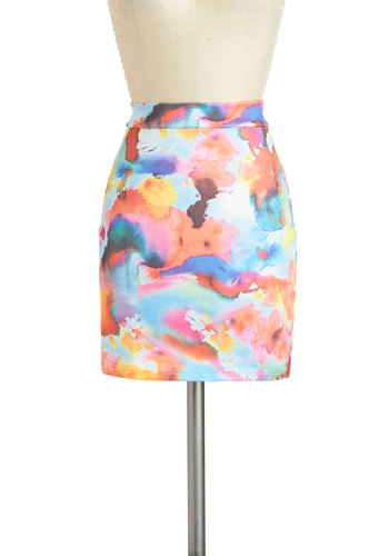 Splatter Quaint Skirt - Short, Multi, Orange, Blue, Pink, White, Print, Pencil, Party, Girls Night Out, Daytime Party, Pastel