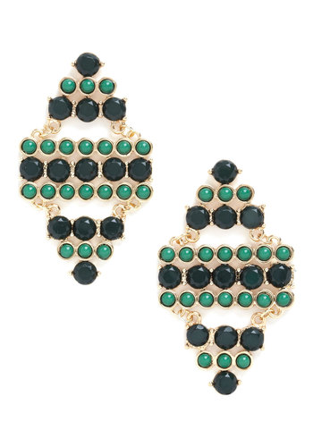 Emerald Pretty Earrings - Gold, Green, Solid, Beads, Cutout, Statement, Green, Party