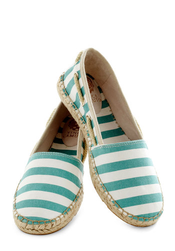 Lakeside Lounge Flat - Mint, Stripes, Trim, Espadrille, Leather, White, Casual, Nautical