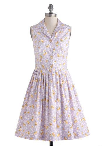 The Kate Dress - Exclusives, Cotton, Purple, Orange, Green, White, Floral, Buttons, Casual, A-line, Sleeveless, Collared, Vintage Inspired, Spring, Polka Dots, Long