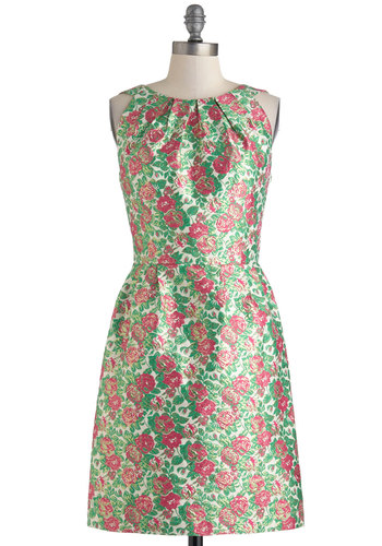 Floral Arrangement Artist Dress by Louche - Mid-length, Green, Pink, White, Gold, Floral, Buttons, Daytime Party, Sheath / Shift, Sleeveless, Crew, Backless, Pleats, Wedding, Party, Vintage Inspired, Spring