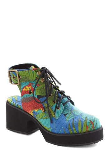 Rainforest for the Trees Heel by Shellys of London - Multi, Print, Chunky heel, Mid, International Designer, Print with Animals, Casual, Vintage Inspired, 90s, Statement, Lace Up, Quirky