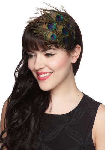 Abloom with a Plume Headband - Green, Multi, Print, Feathers, Statement, Boudoir