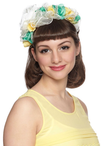 Feeling Festive Headband in White - White, Flower, Wedding, Daytime Party, Statement, Fairytale, Yellow, Green, Variation