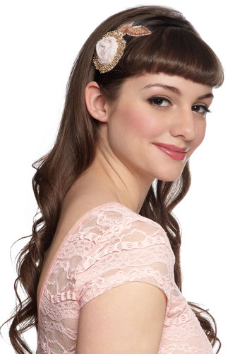 Dash of Panache Headband - Pink, Black, Solid, Beads, Flower, Fairytale, Gold