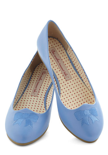 Absolutely Adorn-able Flat in Sky by Bait Footwear - Blue, Solid, Bows, Embroidery, Flat, Leather, Casual, Faux Leather, Variation