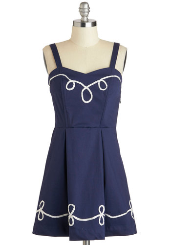 Something to Twirl About Dress - Blue, White, Embroidery, Pleats, Casual, A-line, Spaghetti Straps, Sweetheart, Solid, Nautical, Cotton, Short