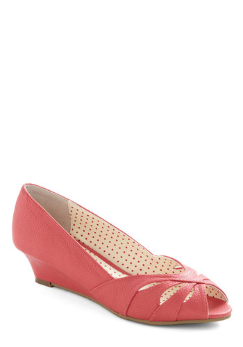 I'll Catch Up Wedge in Coral by Bait Footwear - Solid, Cutout, Wedge, Peep Toe, Mid, Leather, Coral, Work, Daytime Party, Faux Leather, Variation, Summer