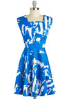 Gallery Gal Dress - Mid-length, Blue, White, Print, Party, A-line, Sleeveless, Daytime Party, Cotton