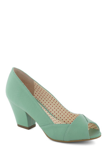Call It a Debut Heel by Bait Footwear - Mint, Solid, Peep Toe, Mid, Leather, Work, Daytime Party, Pastel, Spring
