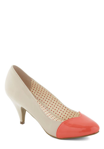 Dip Cone Heel by B.A.I.T. Footwear - Cream, Coral, Solid, Colorblocking, Mid, Leather, Pastel