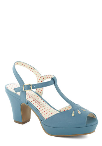Happenin' Home Heel in Blue by Bait Footwear - Blue, Solid, Eyelet, Peep Toe, Mid, Spring, Variation