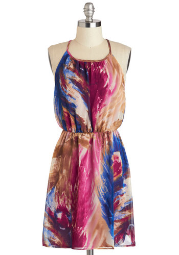 Feathered Brushstrokes Dress - Short, Blue, Purple, Brown, Print, Casual, A-line, Racerback, Scoop, Multi, Beach/Resort, Spaghetti Straps, Summer
