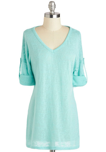 Off-Duty Artist Top - Blue, Solid, Epaulets, Casual, Pastel, Short Sleeves, V Neck, Long, Minimal, Travel, Basic