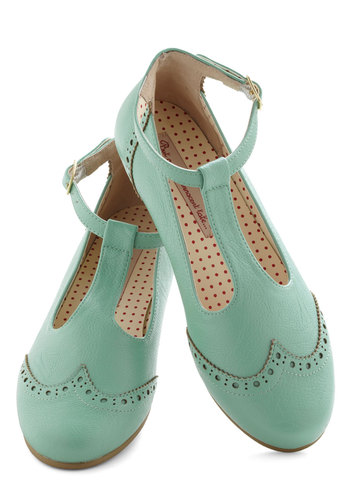 Joy and Merriment Flat in Mint by Bait Footwear - Mint, Solid, Cutout, Menswear Inspired, Flat, Leather, Pastel, Spring