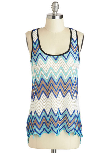 Fun Night in Bangkok Top - Sheer, Mid-length, Blue, Tan / Cream, Black, White, Chevron, Casual, Tank top (2 thick straps), Racerback, Folk Art, Summer, Travel