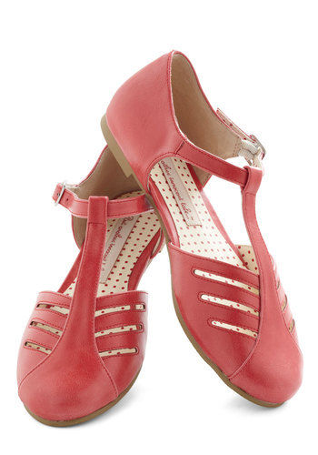 Arrow Margin Flat by Bait Footwear - Coral, Solid, Cutout, Flat, Leather, Spring, Better, T-Strap