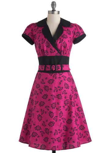 Handy Dandelion Dress - Cotton, Pink, Black, Floral, Belted, Casual, A-line, Rockabilly, Vintage Inspired, 40s, 50s, 60s, Short Sleeves, Collared, Long