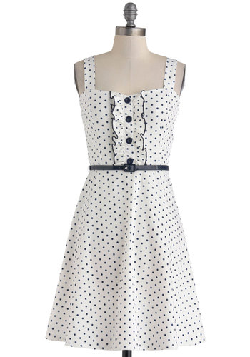 Spontaneous Spins Dress in Navy - Mid-length, White, Blue, Polka Dots, Buttons, Ruffles, Belted, Casual, A-line, Tank top (2 thick straps), Sweetheart, Daytime Party, Rockabilly, Vintage Inspired, 50s, Variation, Summer