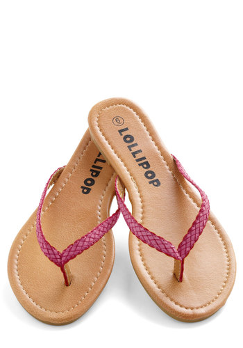 Smoothie Stand Sandal in Rasperry - Pink, Braided, Flat, Solid, Casual, Beach/Resort, Summer, Faux Leather, Variation, Travel