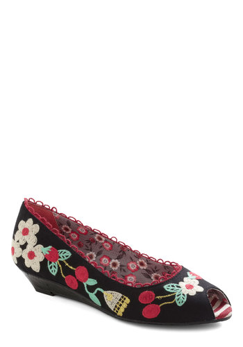 A Fine Art Festival Wedge by Poetic License - Low, Black, Multi, Print, Embroidery, Trim, Fruits, Wedge, Peep Toe, Casual, Folk Art