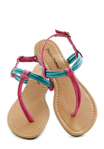 As Good As It Getaway Sandal - Pink, Blue, Beach/Resort, Colorblocking, Flat, Summer, Solid, Casual