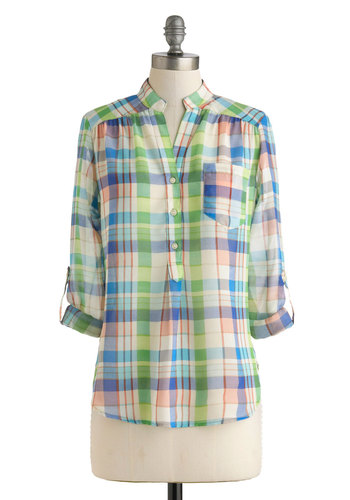 Not Your Father's Plaid Top - Multi, Green, Blue, Pink, Buttons, Casual, Long Sleeve, Collared, Sheer, Mid-length, Rustic