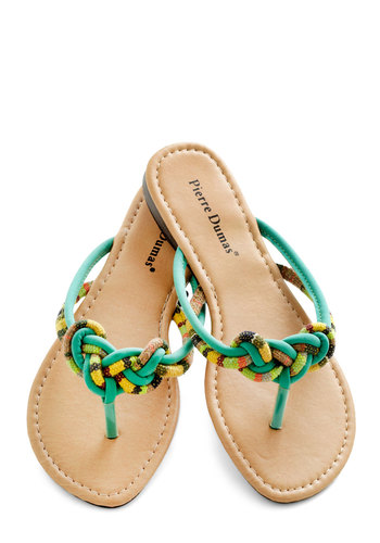 Entanglement of Flavor Sandal - Green, Multi, Beach/Resort, Flat, Summer, Print, Braided, Casual, Boho, Travel