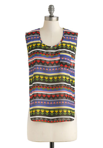 Hill Seeker Top - Multi, Red, Yellow, Blue, Pink, Black, Print, Sleeveless, Sheer, Mid-length, Pockets, Casual, Beach/Resort, Scoop, Summer, Travel