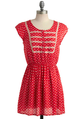 Congenial Cutie Dress - Red, White, Lace, Casual, A-line, Cap Sleeves, Summer, Buttons, Short, Sheer, Polka Dots