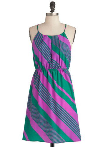 Stripe District Dress - Mid-length, Green, Purple, Stripes, Pleats, Casual, Spaghetti Straps, Summer, Sheath / Shift