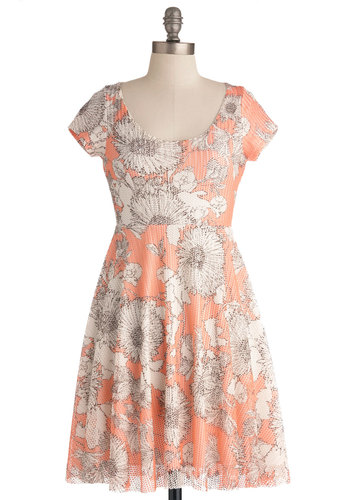 Daisy About You Dress - Mid-length, Orange, Brown, White, Floral, Backless, Casual, Empire, Short Sleeves, Spring, 90s, Coral, Scoop