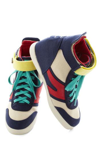 Team Spirited Wedge - Blue, Multi, Solid, Urban, Wedge, Lace Up, Low, Cotton, Colorblocking, Eco-Friendly