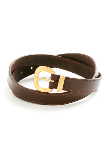 Westward Dreams Belt - Brown, Gold, Solid, Buckles, Leather, Menswear Inspired, Summer