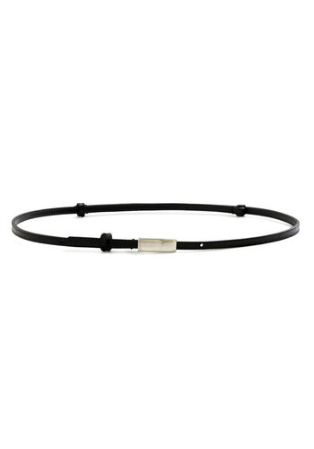 Shiny New Addition Belt - Black, Solid, Leather, Silver, Minimal