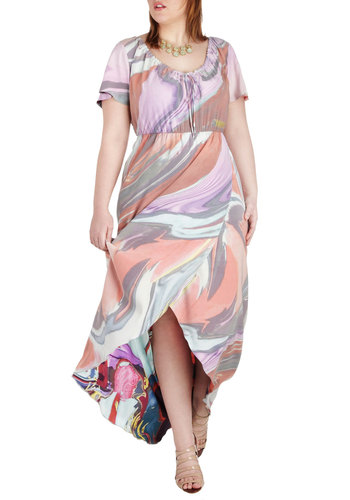 Swirl of Wisdom Dress in Plus Size by JilRo - Purple, Multi, Print, Casual, High-Low Hem, Short Sleeves, Scoop, Pastel, Maxi, Summer
