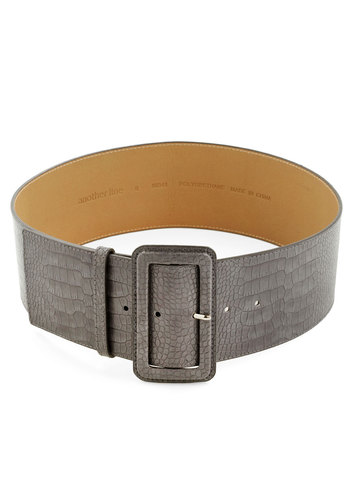 Genuine Genius Belt - Grey, Solid, Mod, Faux Leather, Safari, Vintage Inspired