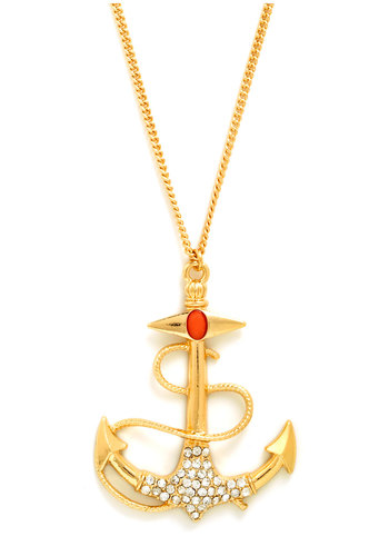 Pirates of Pendants Necklace - Gold, Coral, Solid, Beads, Nautical, Pinup