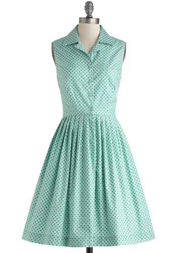 Budding Author Dress - Exclusives, Blue, White, Print, Buttons, Casual, Vintage Inspired, A-line, Sleeveless, Collared, 50s, Spring, Long