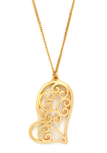 Doodle Love Me Necklace - Gold, Solid, Cutout, French / Victorian, 20s, Gold, Valentine's
