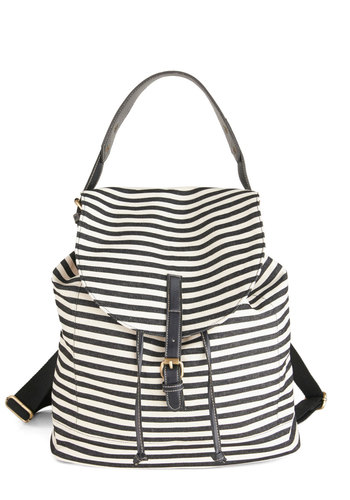Keep Chic and Carry-on Backpack - Black, White, Stripes, Scholastic/Collegiate, Travel, Summer, Work