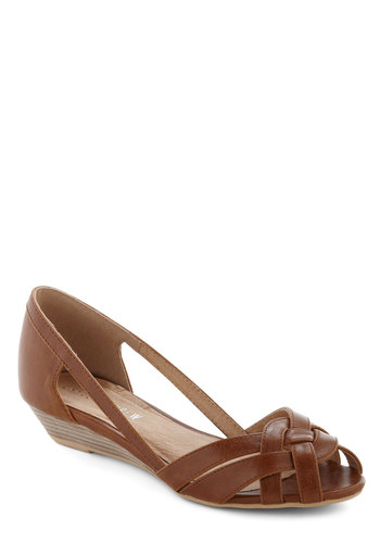 Gal About Town Wedge in Cognac by Chelsea Crew - Tan, Solid, Cutout, Woven, Wedge, Peep Toe, Leather, Spring, Variation, Summer