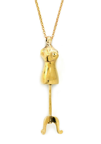 Dress Form to Impress Necklace by Monserat De Lucca - Gold, Solid, Vintage Inspired, Luxe, French / Victorian, Quirky