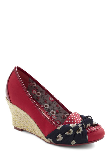 Blossom-thing Sweet Wedge in Red by Poetic License - Mid, Red, Polka Dots, Floral, Wedge, Blue, White, Solid, Bows, Work, Daytime Party, Variation, Pinup